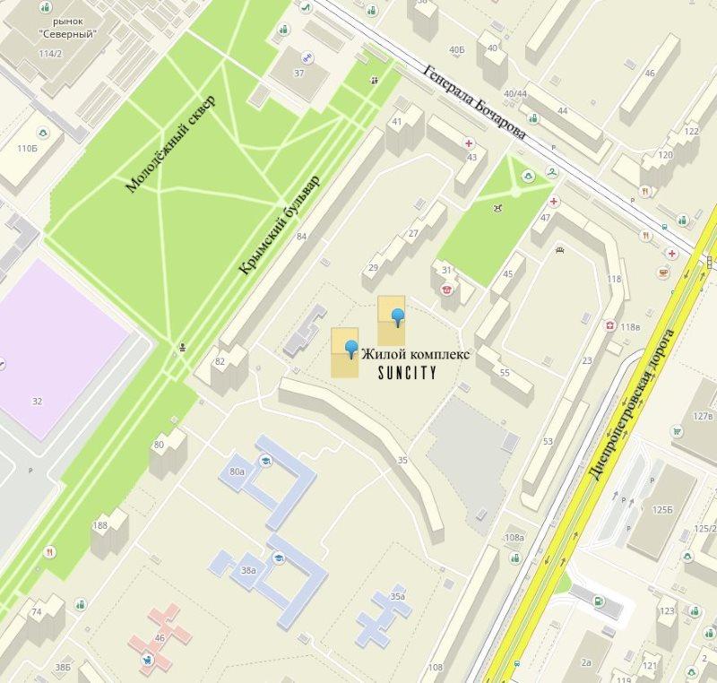 карта suncity, suncity на карте, инфраструктура suncity, новострой котовского, 5 квартир по суперцене, купить квартиру в новострое, новостройки одессы